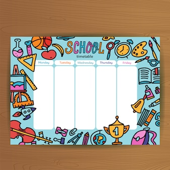 School timetable template. pupil schedule with school supplies . lesson plans all week. education