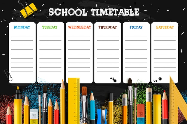 School timetable template for students or pupils. illustration