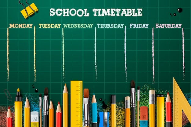 School timetable template for students or pupils. illustration.