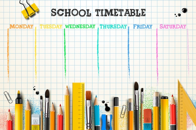 School timetable template for students or pupils.
