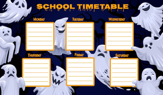 School timetable template, weekly classes schedule