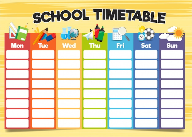School timetable template, a weekly curriculum design