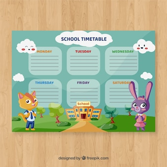 School timetable template with cartoon characters