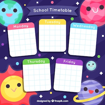 School timetable template with cartoon style