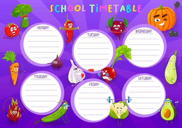 School timetable template with cartoon vegetables sportsmen