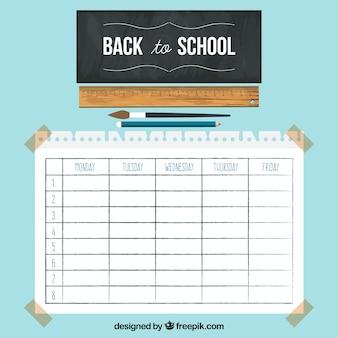 Шаблон школьного расписания с доской и линейкой