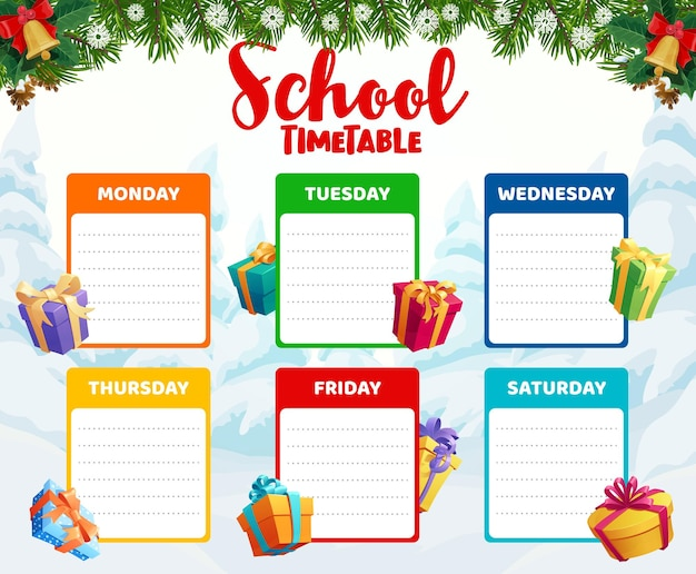 School timetable template with christmas gifts