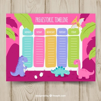 School timetable template with dinosaurs