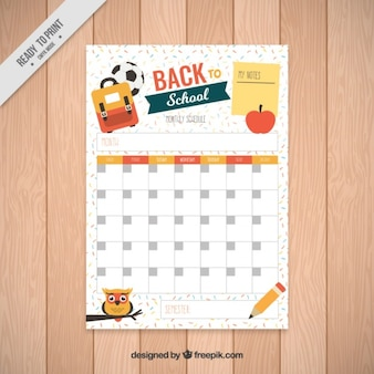 School timetable template with elements