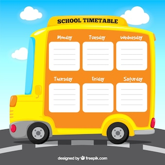 School timetable template with flat deign
