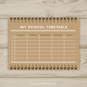 평면 디자인 학교 시간표 템플릿