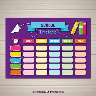 School timetable template with flat design