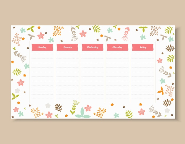School timetable template with flower and leaf.