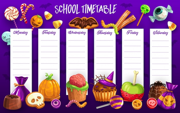 School timetable template with halloween candies