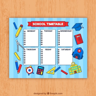 School timetable template with hand drawn materials