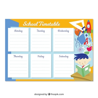 School timetable template with hand drawn style