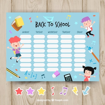 School timetable template with happy children