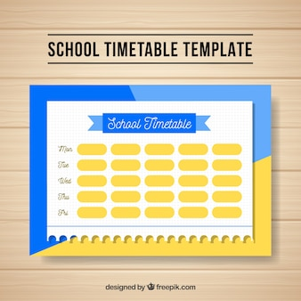 School timetable template with notebook paper