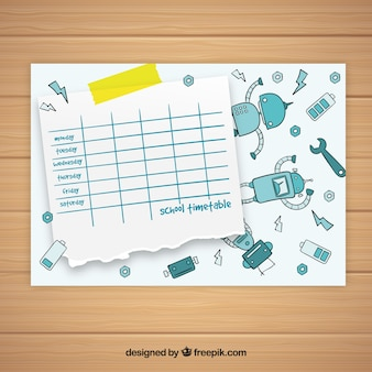 School timetable template with robots
