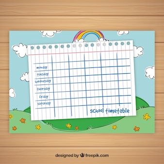 School timetable template with sky and rainbow
