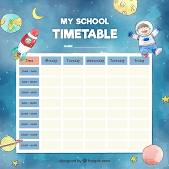 School timetable template with space concept