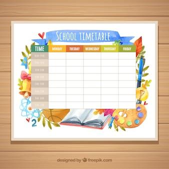 Шаблон школьного расписания с акварельными материалами
