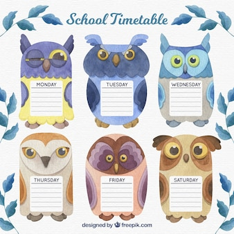 School timetable template with watercolor owls