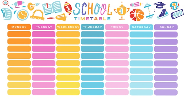 School timetable, a weekly curriculum design template, scalable vector graphic with gradient transition.