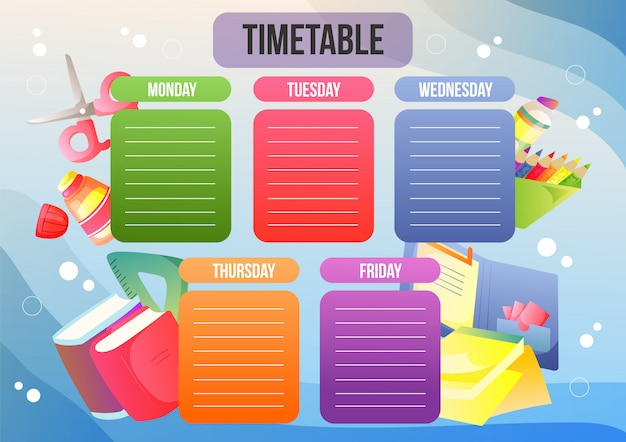 School timetable or weekly plan
