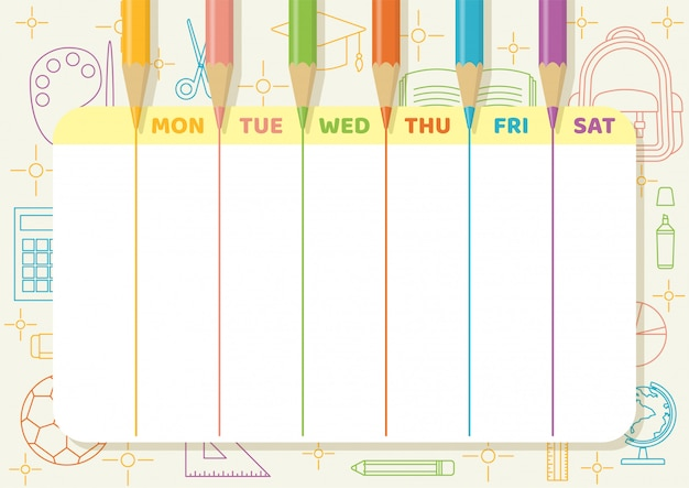 School timetable or weekly planner with color pencils draw colorful lines on light yellow paper with school and class elements line art