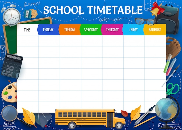 School timetable, weekly pupil schedule template