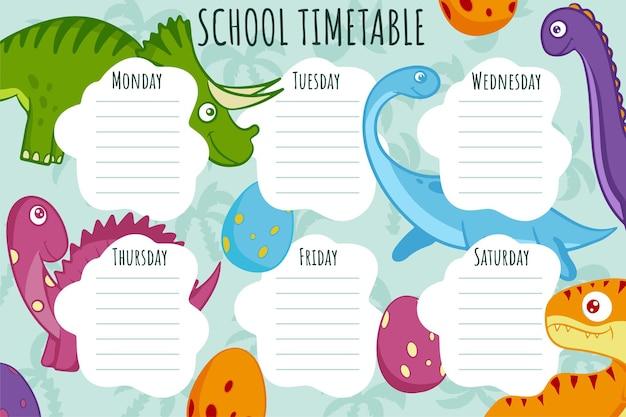 Школьное расписание. векторный шаблон еженедельного расписания для школьников, украшенный яркими красочными динозаврами.