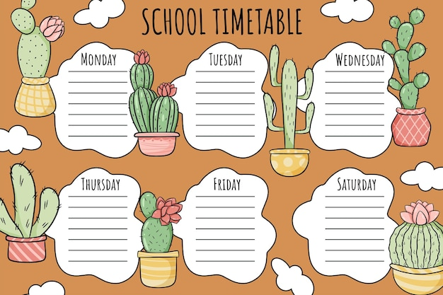 School timetable. weekly schedule vector template for school students, decorated with plants, cacti in pots.
