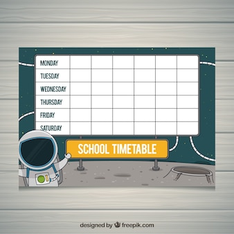 School timetable with astronaut