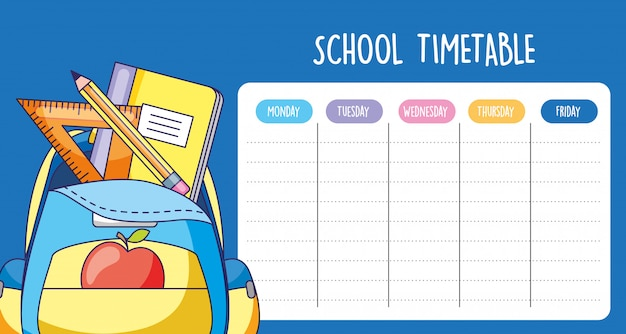 School timetable with bag with shool supplies