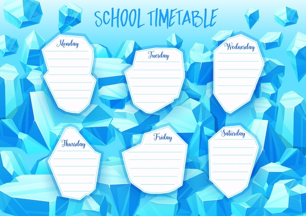 School timetable with blue crystal gems, jewel and mineral stones.