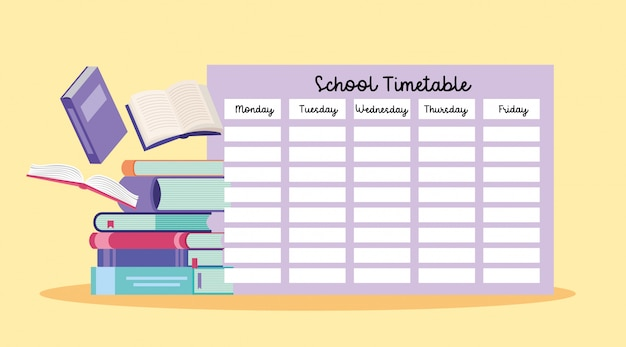 School timetable with books