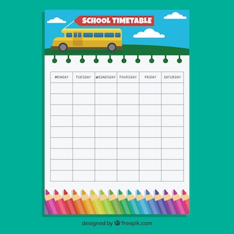 School timetable with bus and colored pencils