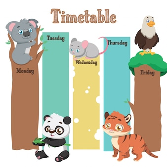 School timetable with cartoon animals