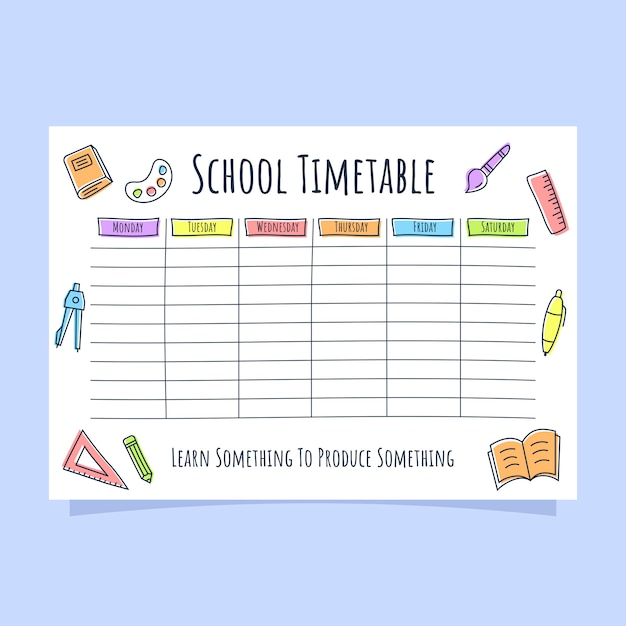 School timetable with colored line icon