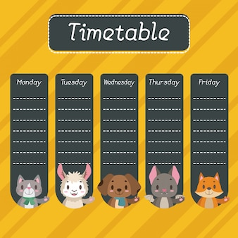 School timetable with cute animals