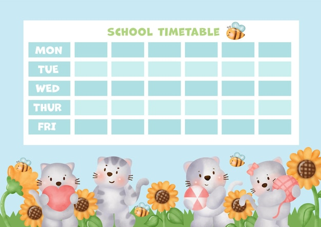 School timetable with cute cats.