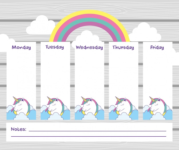 School timetable with cute fantasy universe