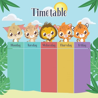 School timetable with cute felines