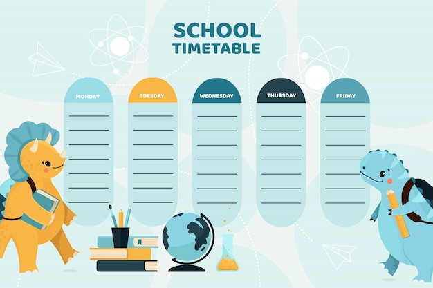 School timetable with cute happy dino illustration.