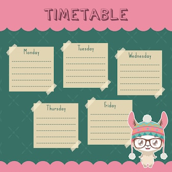 School timetable with cute llama