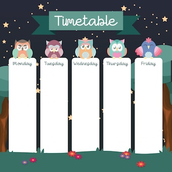School timetable with cute owls