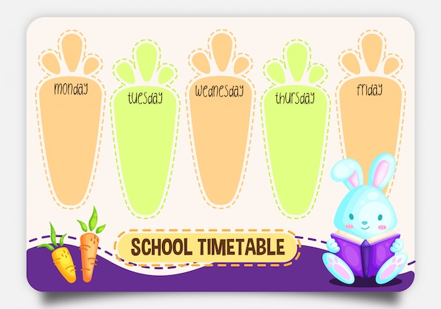 School timetable with cute rabbit reading book character