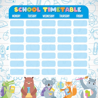 School timetable with cute students animals
