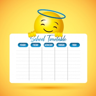 School timetable with emoji cute smile face